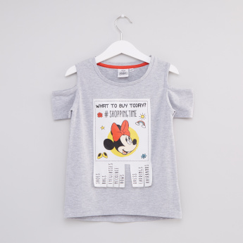Minnie Mouse Printed Round Neck Cold Shoulder Top