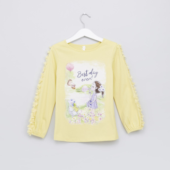 Printed Applique Detail T-Shirt