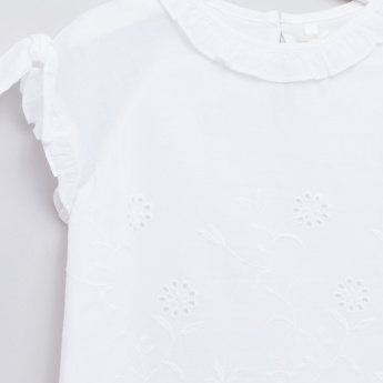 Frill and Schiffli Detail Round Neck Top