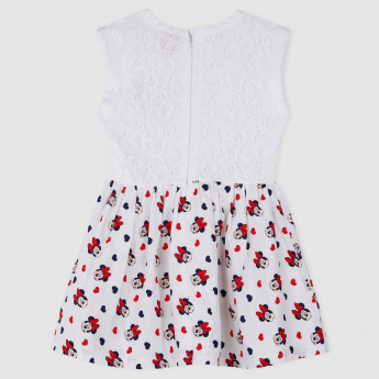 Minnie Mouse Print Sleeveless Dress