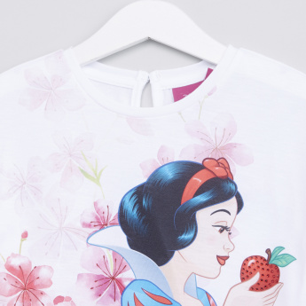 Snow White Printed Flutter Sleeves Top