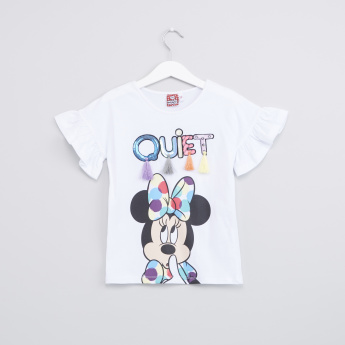 Minnie Mouse Printed Sequin Detail T-Shirt