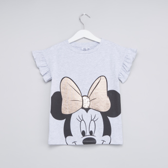 Minnie Mouse Printed Top with Frill and Sequin Detail