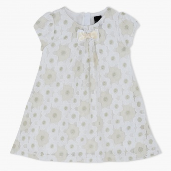 Embroidered Woven Lace Dress with Bow Applique