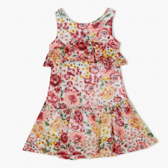 Floral Print Sleeveless Woven Dress with Frills