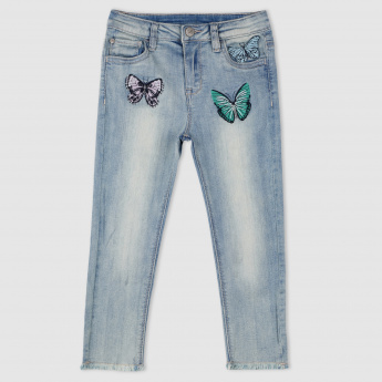 Embroidered Full Length Jeans with Button Closure