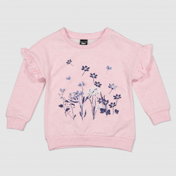 Floral Print Long Sleeves Sweat Top