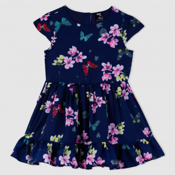 Floral Print Short Sleeves Dress