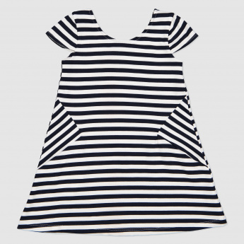 Striped Short Sleeves Dress with Bow