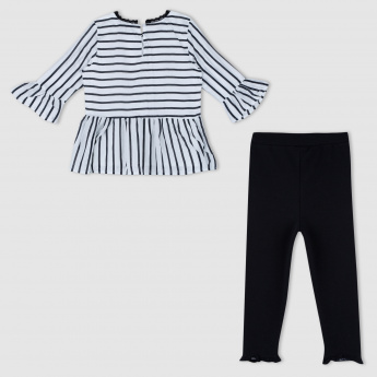 Striped Top and Leggings Set
