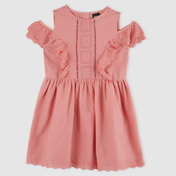 Ruffle Detail Cold Shoulder Dress