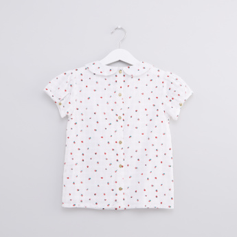 Printed Peter Pan Collar Top