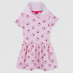 Hello Kitty Print Short Sleeves Hooded Dress