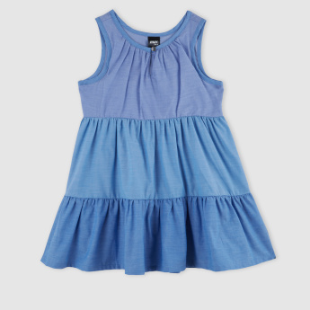 Round Neck Denim Sleeveless Dress