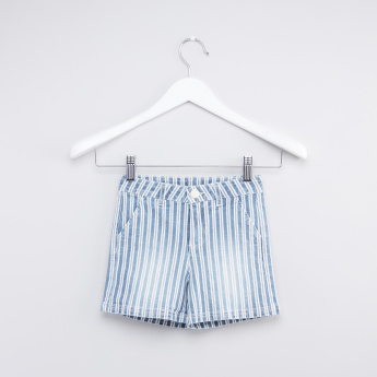 Striped Shorts with Button Closure and Pocket Detail