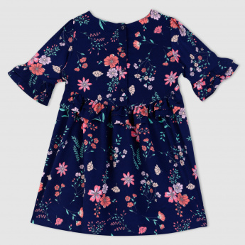 Floral Print Woven Dress with Bell Sleeves