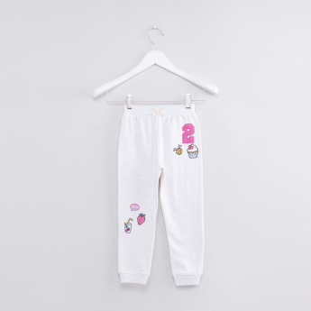 Embroidered Applique Jog Pants with Elasticised Waistband