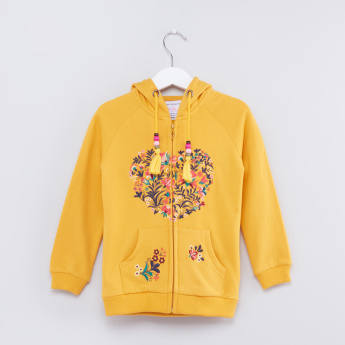 Embroidered Long Sleeves Zip Closure Jacket