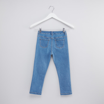 Full Length Jeans with Applique Detail and Button Closure