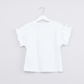 Round Neck T-shirt with Ruched Sleeves and Mesh Skirt