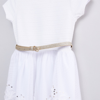 Textured Dress with Belt and Sequin Detail