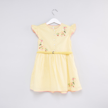 Embroidered Round Neck Cap Sleeves Dress with Belt