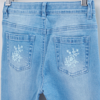 Floral Embroidery Full Length Jeans with Buton Closure
