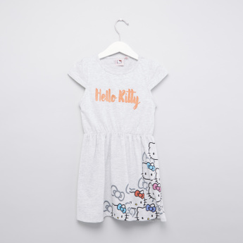 Hello Kitty Printed Round Neck Dress with Cap Sleeves