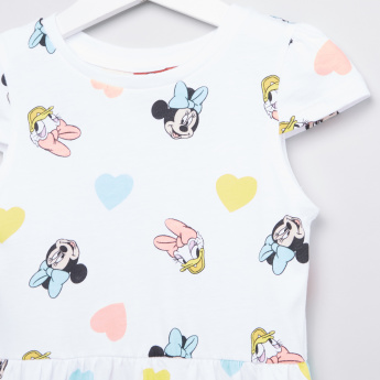 Minnie Mouse and Daisy Duck Printed Dress with Cap Sleeves