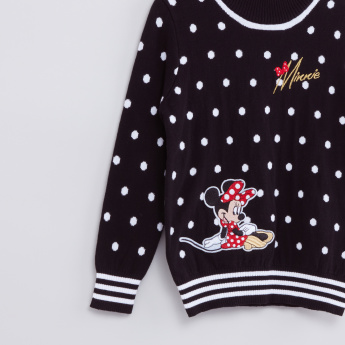Minnie Mouse Printed High Neck Long Sleeves Sweatshirt