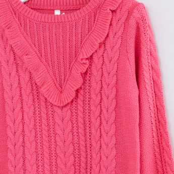 Ruffle Detail Round Neck Long Sleeves Sweater