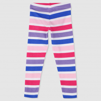 Striped Elasticised Waistband Leggings