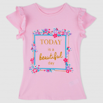 Floral Print Short Sleeves T-Shirt with Frill Detailing
