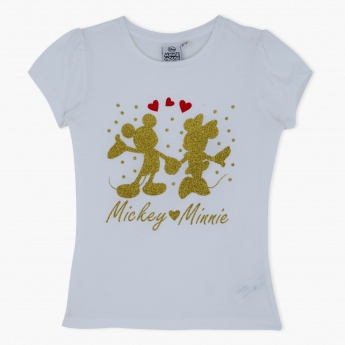 Mickey Mouse and Minnie Mouse Printed T-Shirt
