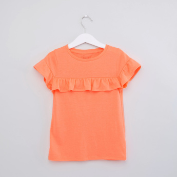 Round Neck Ruffle Sleeves Top