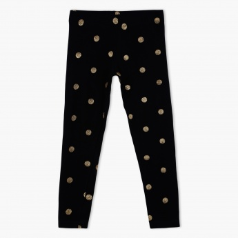 Glitter Printed Leggings with Elasticised Waistband