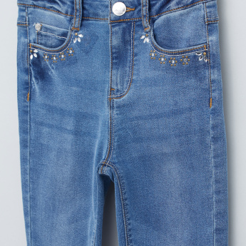 Embellished Jeans with Button Closure and Pocket Detail