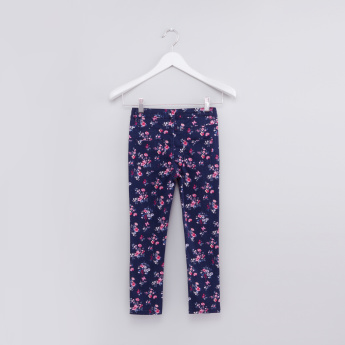 Printed Full Length Pants with Button Closure and Pocket Detail