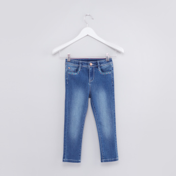Full Length Jeans with Embroidered Pocket Detail and Button Closure