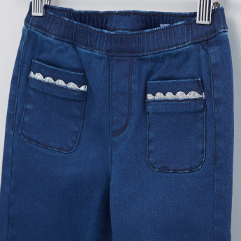 Full Length Jeans with Elasticised Waistband and Pocket Detail