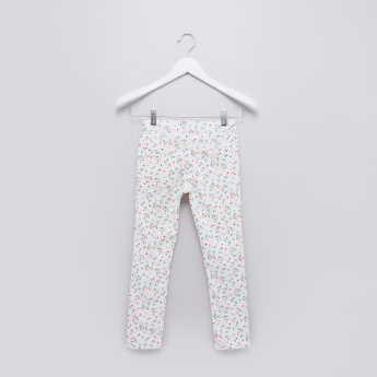 Printed Full Length Jeans with Pocket Detail and Button Closure