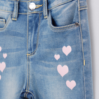 Printed Jeans with Button Closure and Pocket Detail