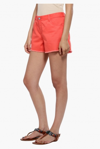 Shorts with Fringe Hem and Button Closure