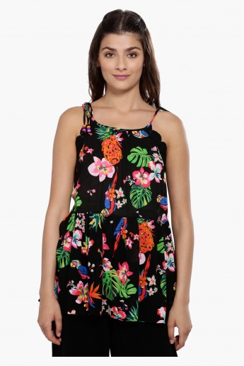 Printed Sleeveless Top with Tie Up Strings