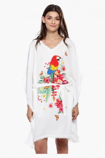 Printed Kaftan Top with Fringed Hem and Tie-Up Detailing