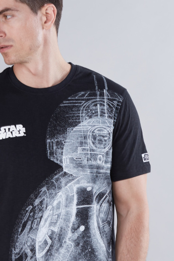 Star Wars Last Jedi Printed T-Shirt with Round Neck and Short Sleeves