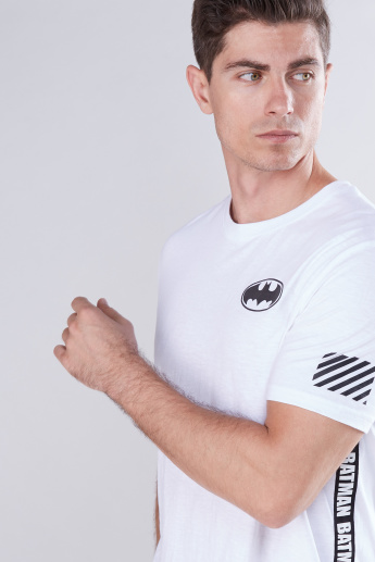 Batman Printed T-Shirt with Round Neck and Tape Detail