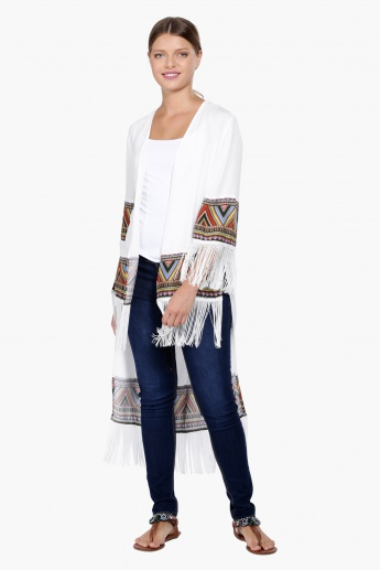 Printed Open Front Shrug with Fringes