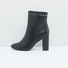 Studded High Top Boots with Block Heels and Zip Closure