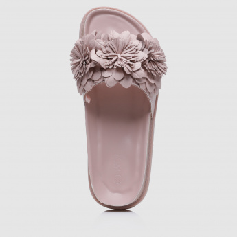 Low-Heel Slides with Flower Top